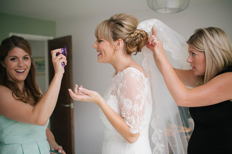 bride getting ready at home gloucestershire