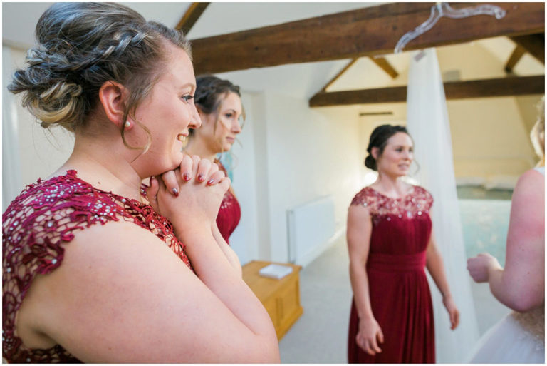 excited bridesmaids at Berkeley Castle Wedding Gloucestershire