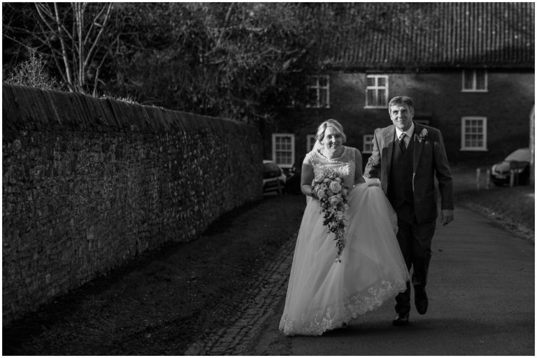 bride and her dad at Berkeley Castle Wedding Gloucestershire
